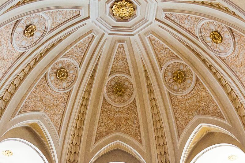 La volta a cupoletta della Cappella della Madonna del Santo Rosario