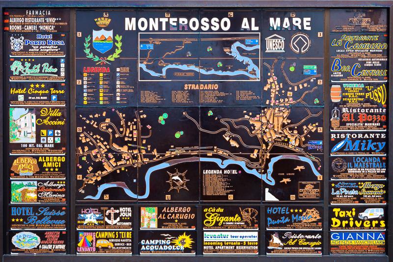 La mappa in rame di Monterosso al mare