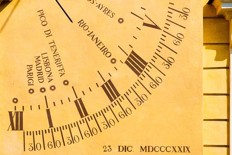Meridiane del quadrante solare verticale
