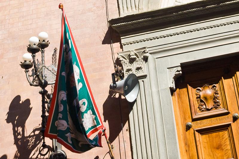 La bandiera della Nobile Contrada dell'Oca