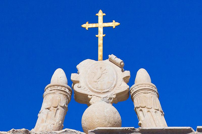 Lo stemma in pietra con il leone rampante