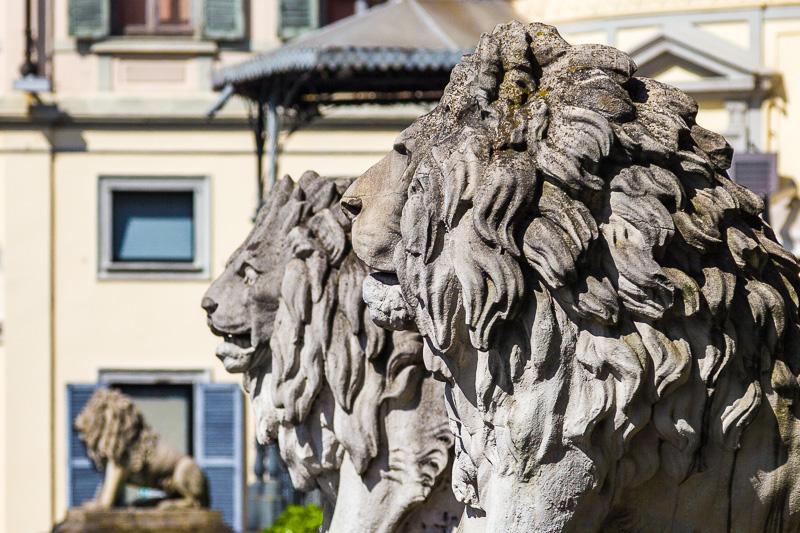 Sculture in pietra di due leoni