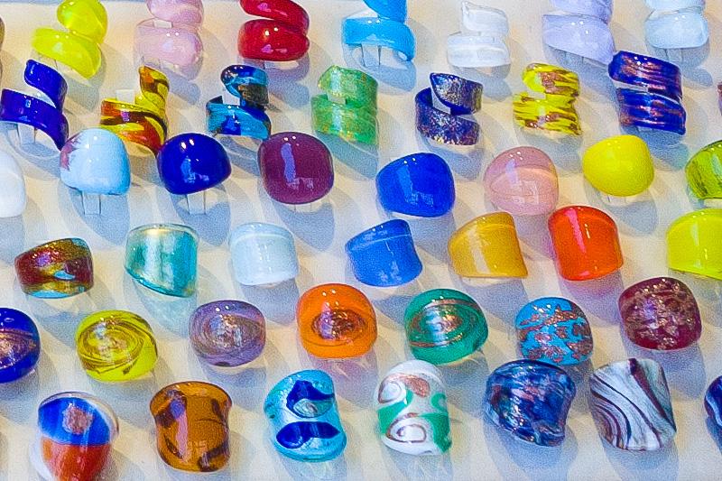 Anelli in vetro di Murano