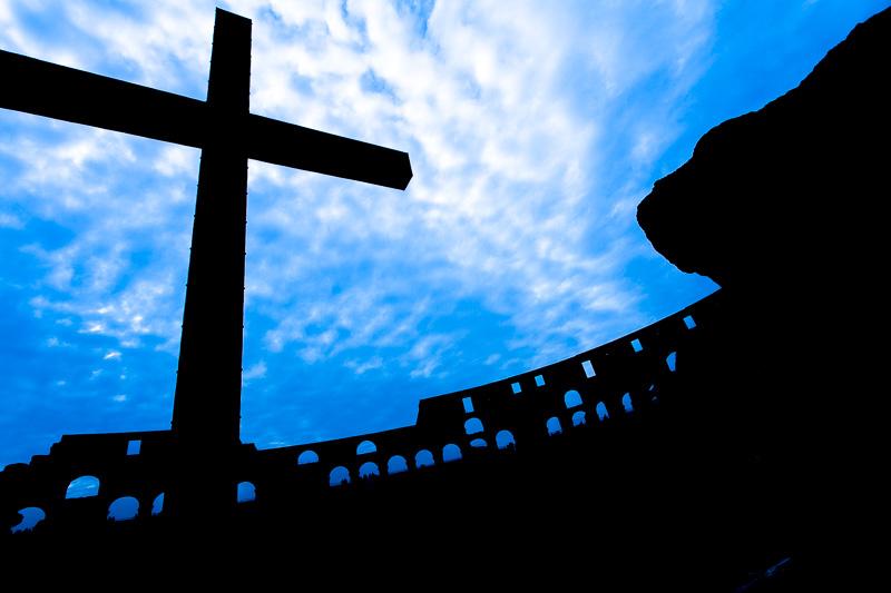 Silhouette della Croce dei martiri cristiani